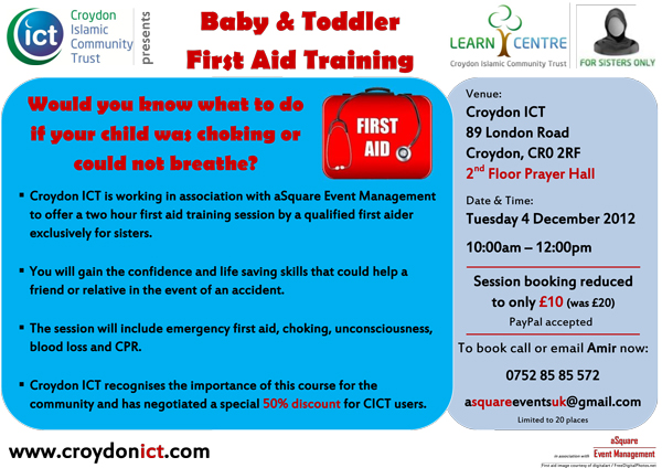 Baby and Toddler First Aid Training at Croydon ICT