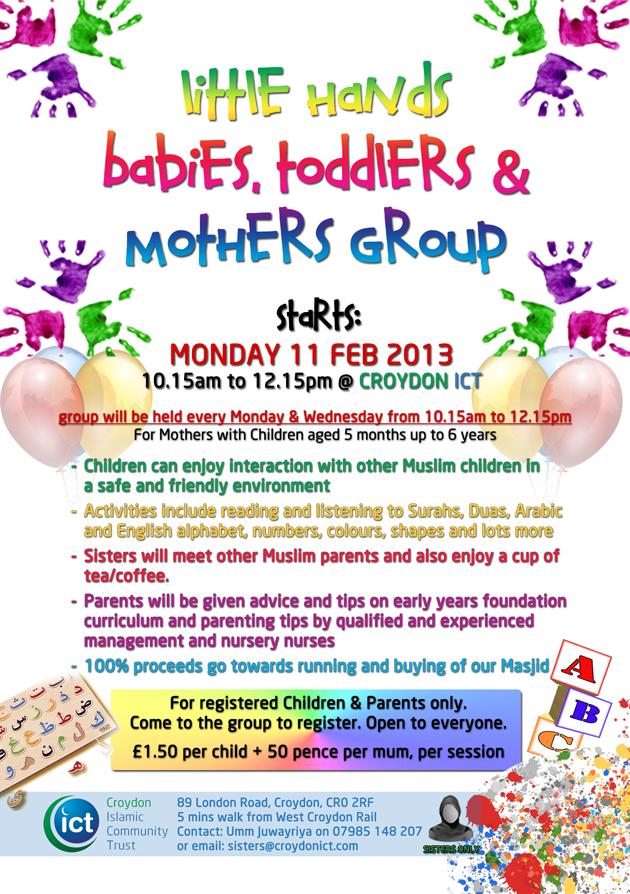 Little Hands – Babies, Toddlers and Mothers Group – NOW OPEN at Croydon ICT
