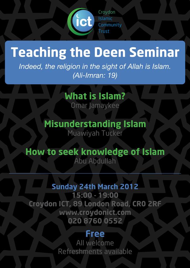 Teaching the Deen Seminar at Croydon ICT