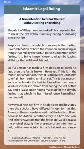 A firm intention to break the fast without eating or drinking