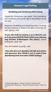 Backbitting and slandering whilst fasting